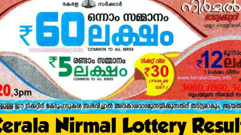 Check Live: Nirmal Lottery Result NR 196 Result 30-Oct-2020  | Nirmal bhagyakuri Lottery Updates