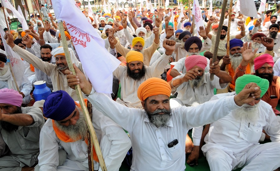 Today Agriculture Current affairs, Amritsar: Farmers shout slogans as they stage a sit-in demonstration against Prime Minister Narendra Modi and Punjab Chief Minister Captain Amarinder Singh during a protest against the Electricity Amendment Bill 2020, the plan of privatising the power distribution in the Union Territories and against agriculture-related ordinances brought by the Union government, outside the Deputy Commissioner's (DC) office in Amritsar on Sept 8, 2020. (Photo: IANS)