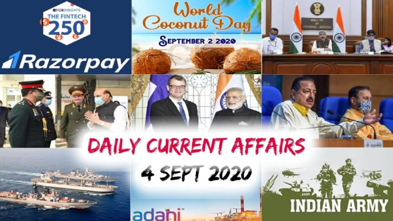 Daily Current Affairs: 4th Sep 2020 || Today top 15 MCQ with Detailed Explanation
