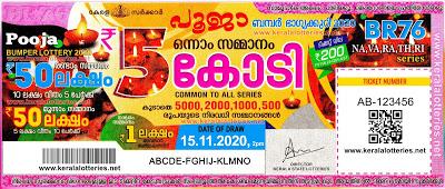 Kerala Bhagyakuri Pooja Bumper Lottery BR 76 2020