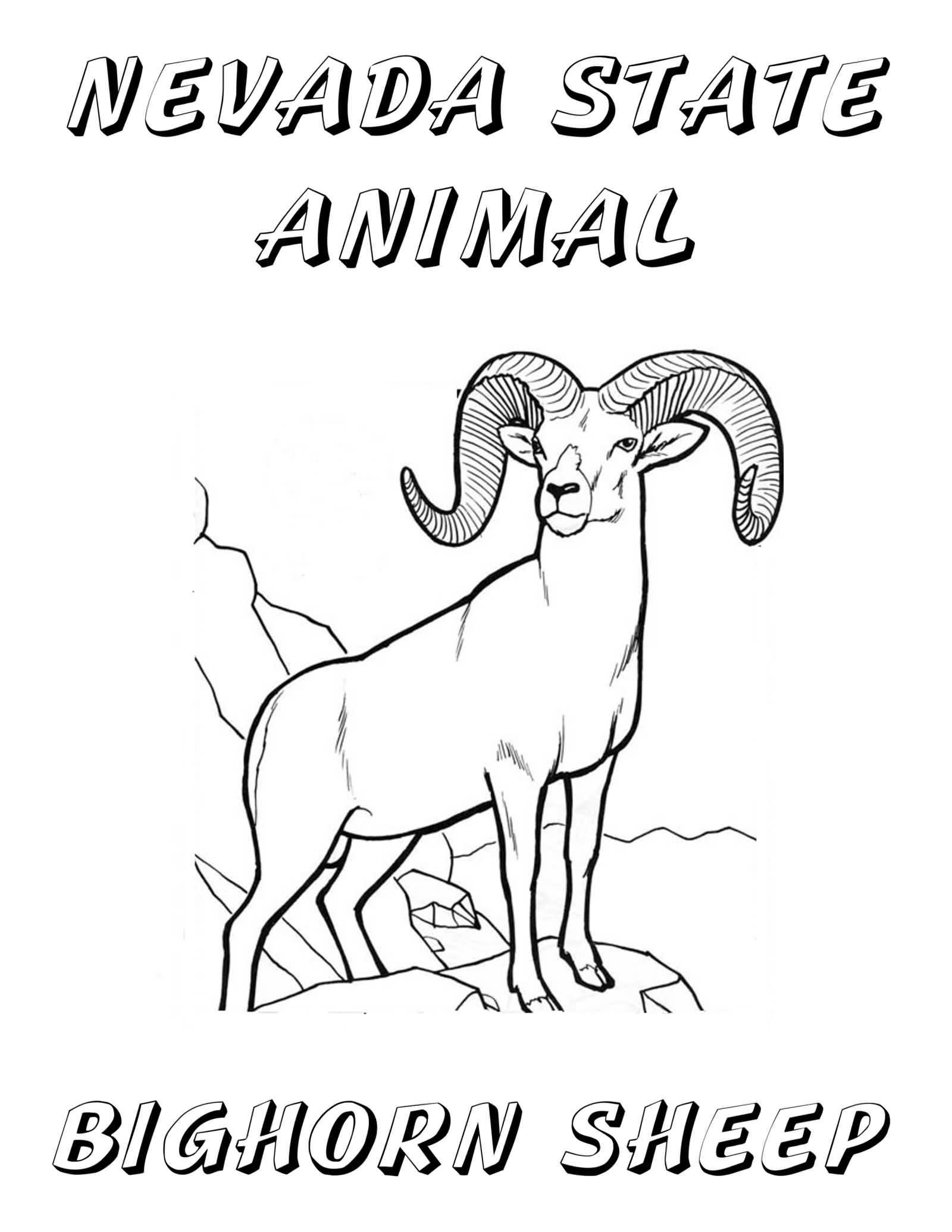 Neveda State Animal Big Horn Sheep Happy Nevada Day