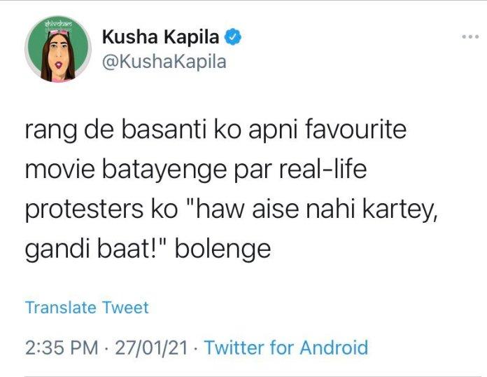 YouTuber and social media influencer Kusha Kapila instigates protestors to take to street 'Rang De Basanti' style